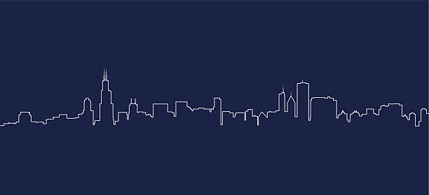 illustrazioni stock, clip art, cartoni animati e icone di tendenza di skyline di chicago - city