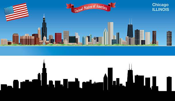 ilustraciones, imágenes clip art, dibujos animados e iconos de stock de vista de los edificios de chicago - chicago