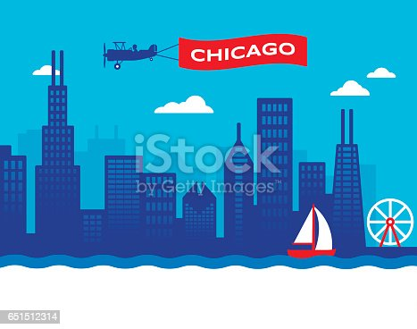Chicago city skyline illustration including major landmarks and view of the lakefront.
