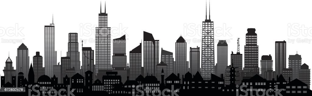 Chicago Skyline Stock Vector Art & More Images of Building ...