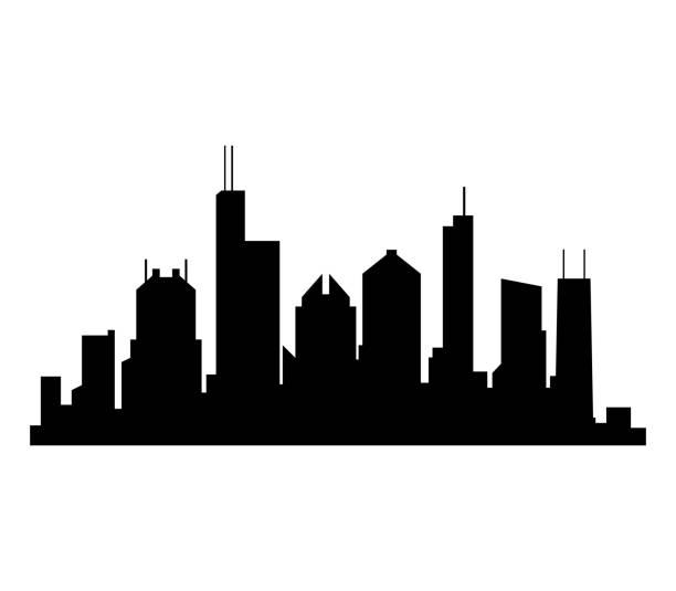 chicago skyline - urban skyline stock illustrations