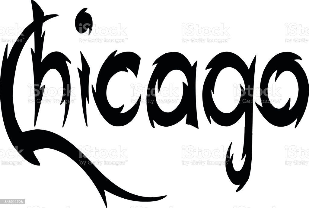 chicago text sign illustration vector art illustration
