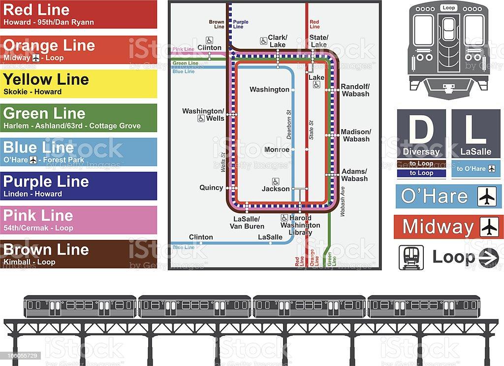 Chicago transportation vector art illustration