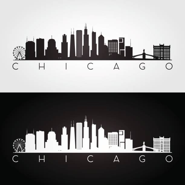 Chicago USA skyline and landmarks silhouette Chicago USA skyline and landmarks silhouette, black and white design, vector illustration. chicago stock illustrations