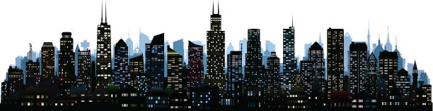 Chicago (All Buildings Are Complete and Moveable) Chicago skyline. All buildings are complete and moveable. chicago stock illustrations