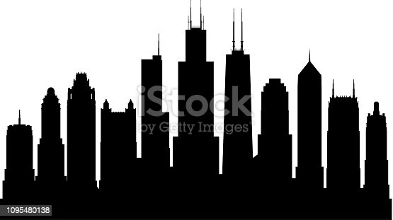 Chicago skyline. All buildings are complete and moveable.