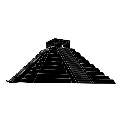 Chichen itza, Mexican Mayan Pyramid on white background, vector illustration