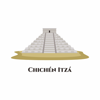 Chichen Itza. The archaeological site in Tinúm Municipality, Yucatán State, Mexico. Mayan pyramid of Kukulcan El Castillo. City travel landmarks, tourist attraction. Flat vector illustration