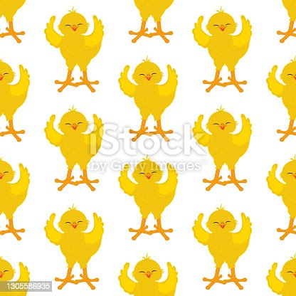 istock Chick bird cute animal vector illustration seamless pattern 1305586935