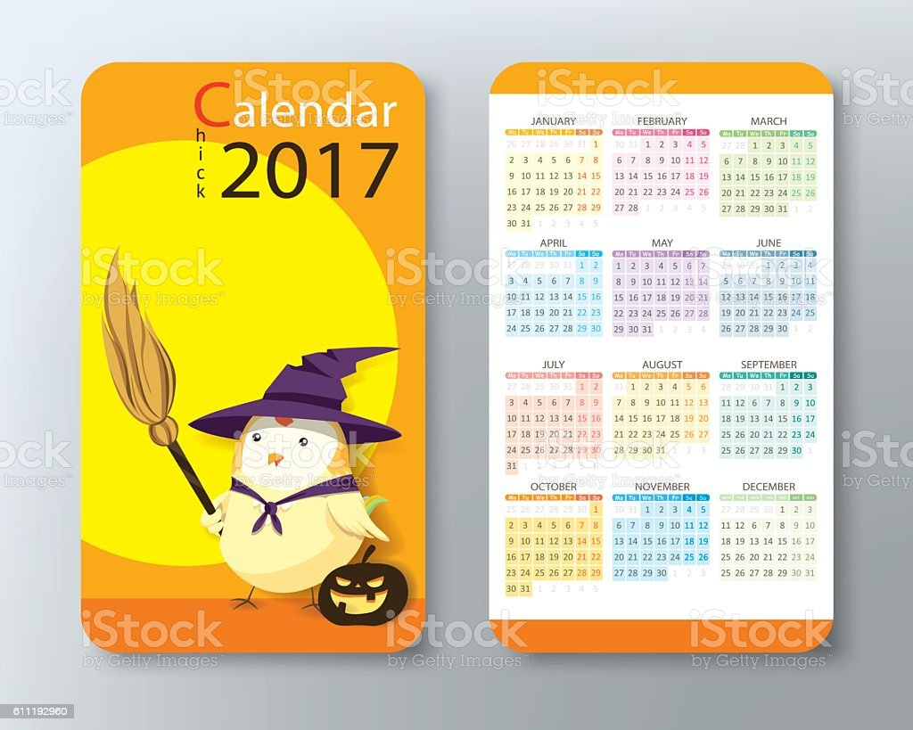Chick calendar 2017 business card size halloween stock vector art chick calendar 2017 business card size halloween royalty free chick calendar 2017 business reheart Image collections