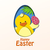 The greeting card of chick paper craft inviting you to join the Easter Party with egg hunt game