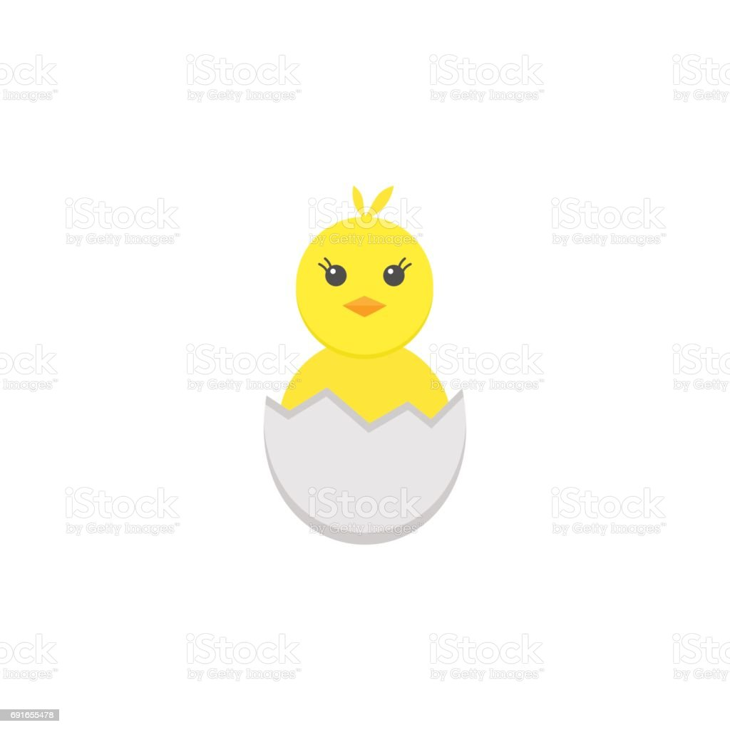 Chick hatched from an egg flat icon, holiday vector art illustration