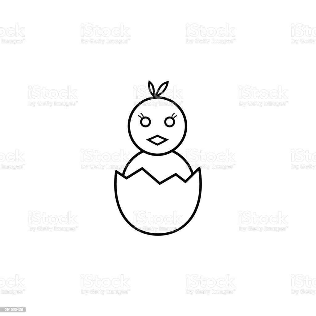 Chick hatched from an egg line icon holiday vector art illustration