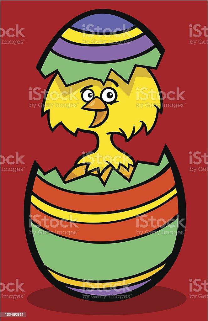 chick in easter egg cartoon illustration royalty-free stock vector art