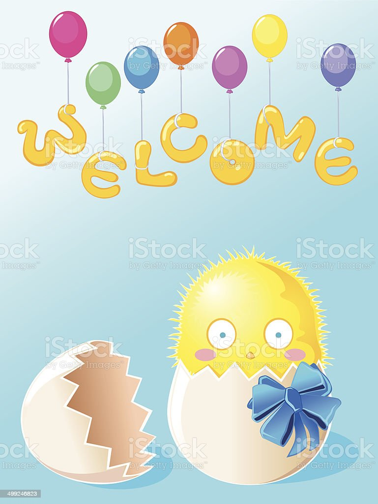 Chick male born 'Welcome' vector art illustration