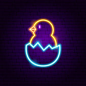 Chick Neon Sign. Vector Illustration of Animal Promotion.