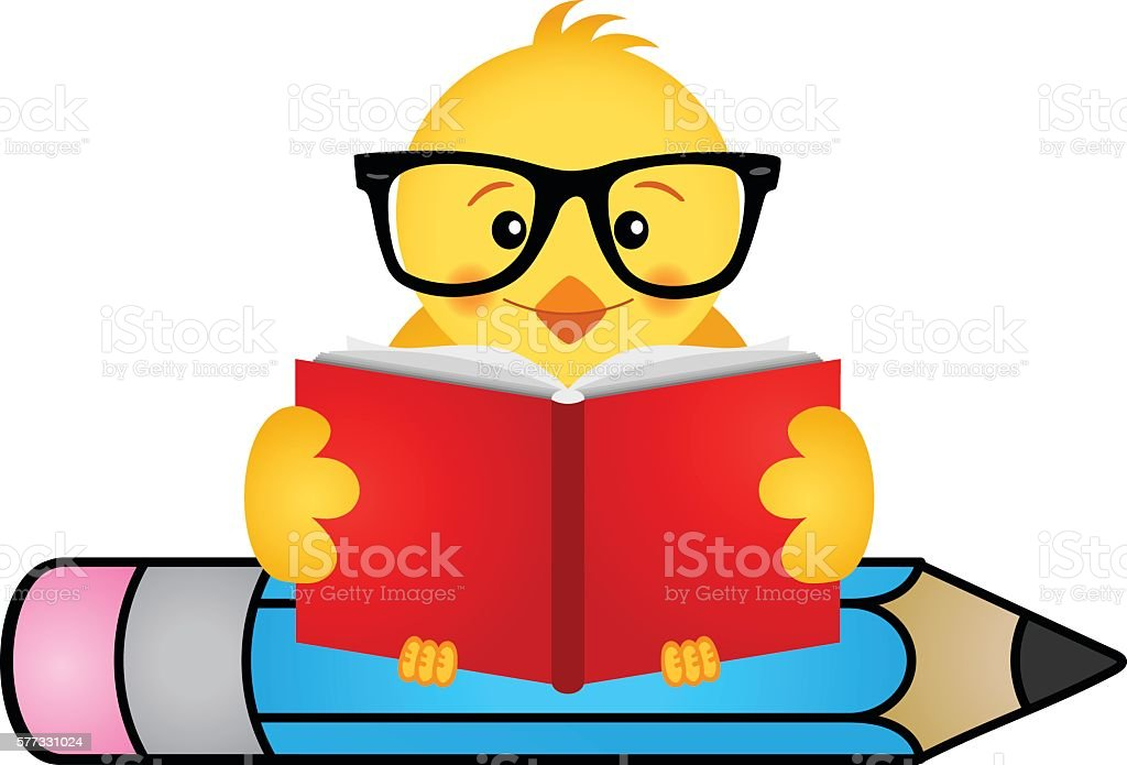 Children Reading Stock Vector Art More Images Of Baby: Chick Reading Book Sitting On Pencil Stock Vector Art
