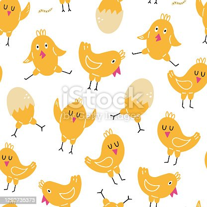 istock Chick seamless pattern. Happy yellow baby chicken, doodle colorful baby birds, poultry farm cute creature, cartoon minimalistic decor textile, wrapping paper wallpaper vector texture print and fabric 1292735373
