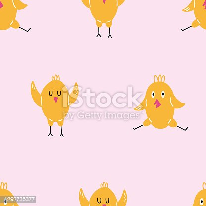 istock Chick seamless pattern. Happy yellow baby chicken, doodle colorful baby birds, poultry farm cute creature, cartoon minimalistic decor textile, wrapping paper wallpaper vector texture print and fabric 1292735377