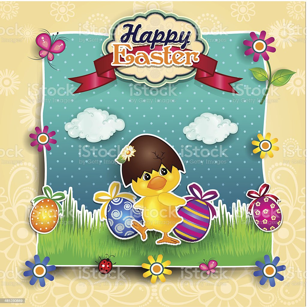 Chick with Easter egg royalty-free stock vector art