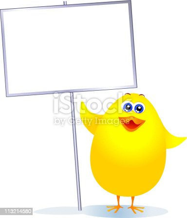 istock Chick with sign 113214580