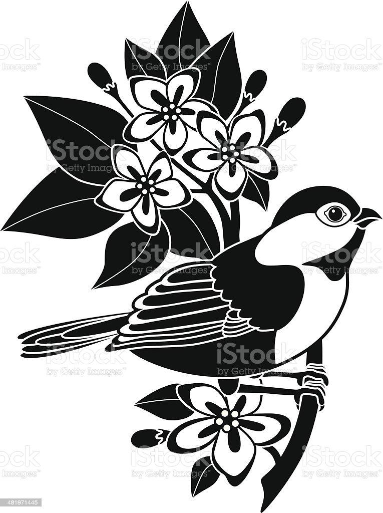 chickadee and mayflowers royalty-free stock vector art