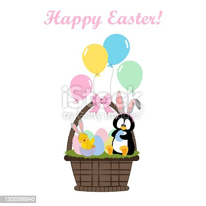 istock Chicken and penguin in easter basket with eggs 1305586940