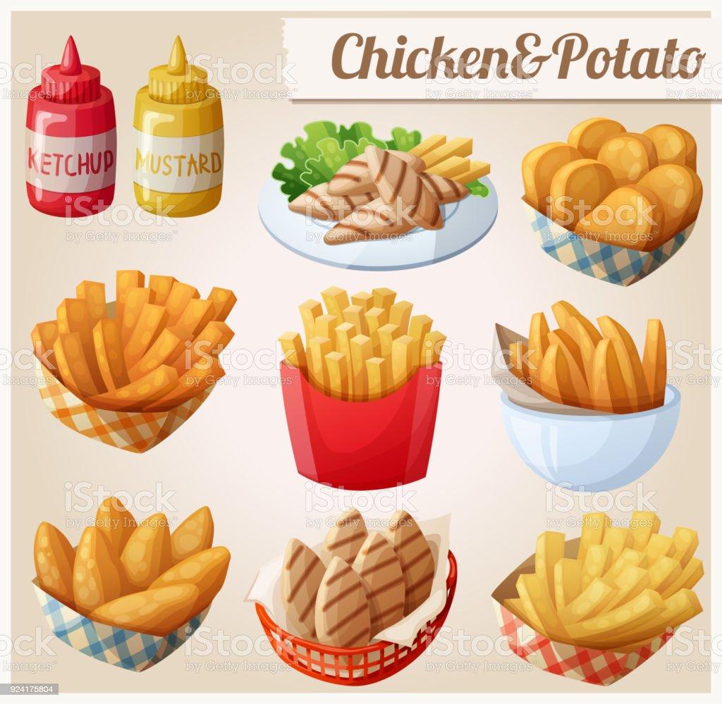 Frango e batata. Conjunto de ícones do vetor dos desenhos animados alimentos - ilustração de arte em vetor