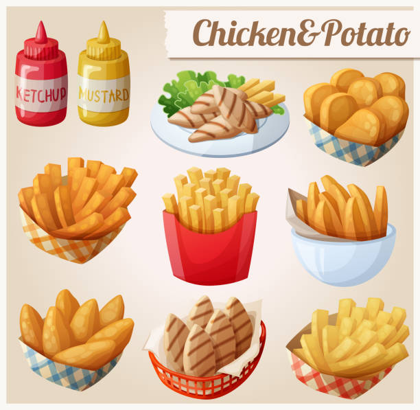Chicken and potato. Set of cartoon vector food icons Chicken and potato. Set of cartoon vector food icons. Ketchup, mustard, grilled chicken strips, french fries, chicken fingers, sweet potato fries, nuggets french fries stock illustrations