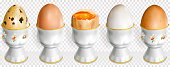 Chicken and quail eggs on a egg cup
