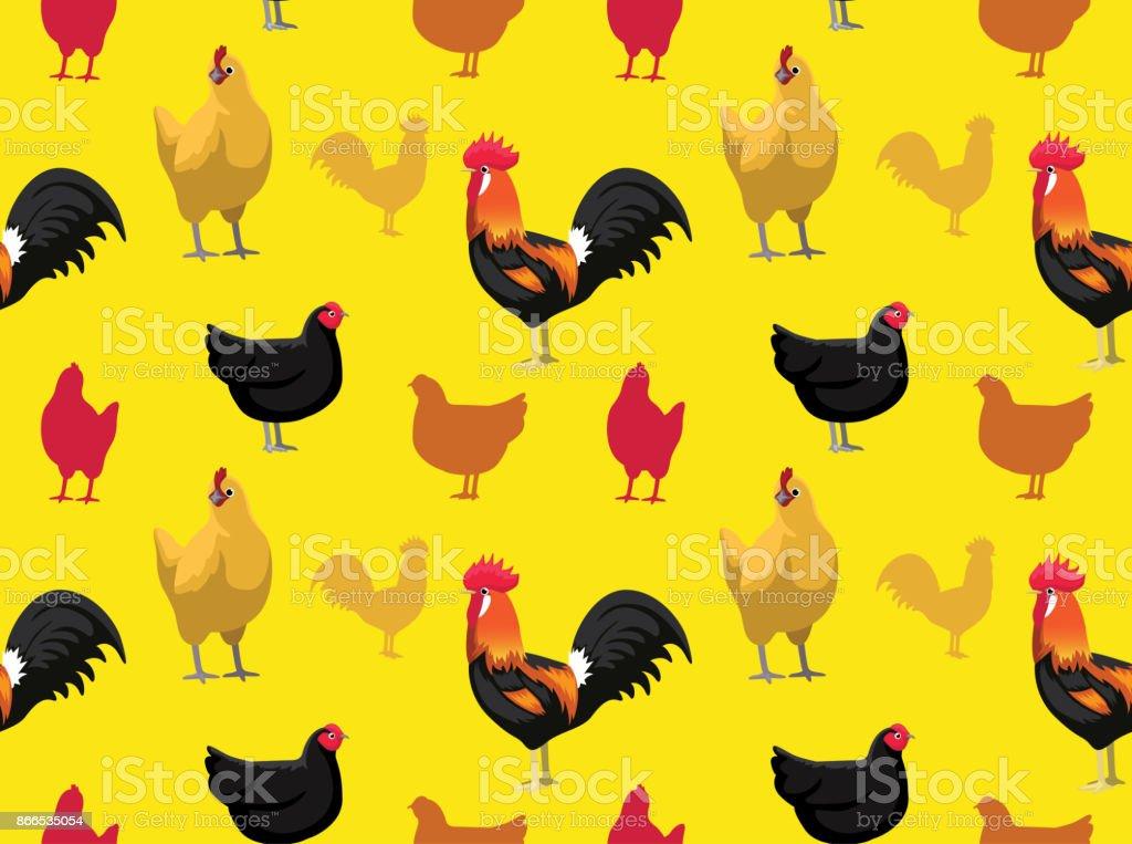 Chicken Australorp Cartoon Seamless Wallpaper Stock