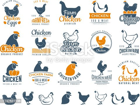 Chicken badges. Fresh farm food logotype cooking egg and bird broilers vector labels. Chicken egg and meat logotype, farm badge label illustration