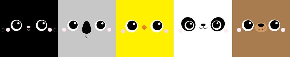 Chicken Bear Cat Koala Panda square face head icon set line. Cartoon funny character. Cute kawaii animal portrait. Kids print for poster, t-shirt cloth. Scandinavian style. Flat background.