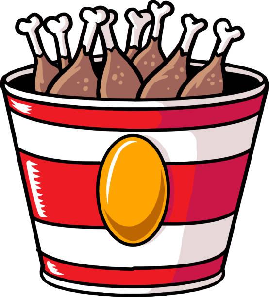 huhn-eimer - ungesunde ernährung stock-grafiken, -clipart, -cartoons und -symbole