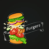 Vector illustration of a fast food icon. Flying burger showing ingredients with outline and ribbon drawn with chalk on a blackboard.