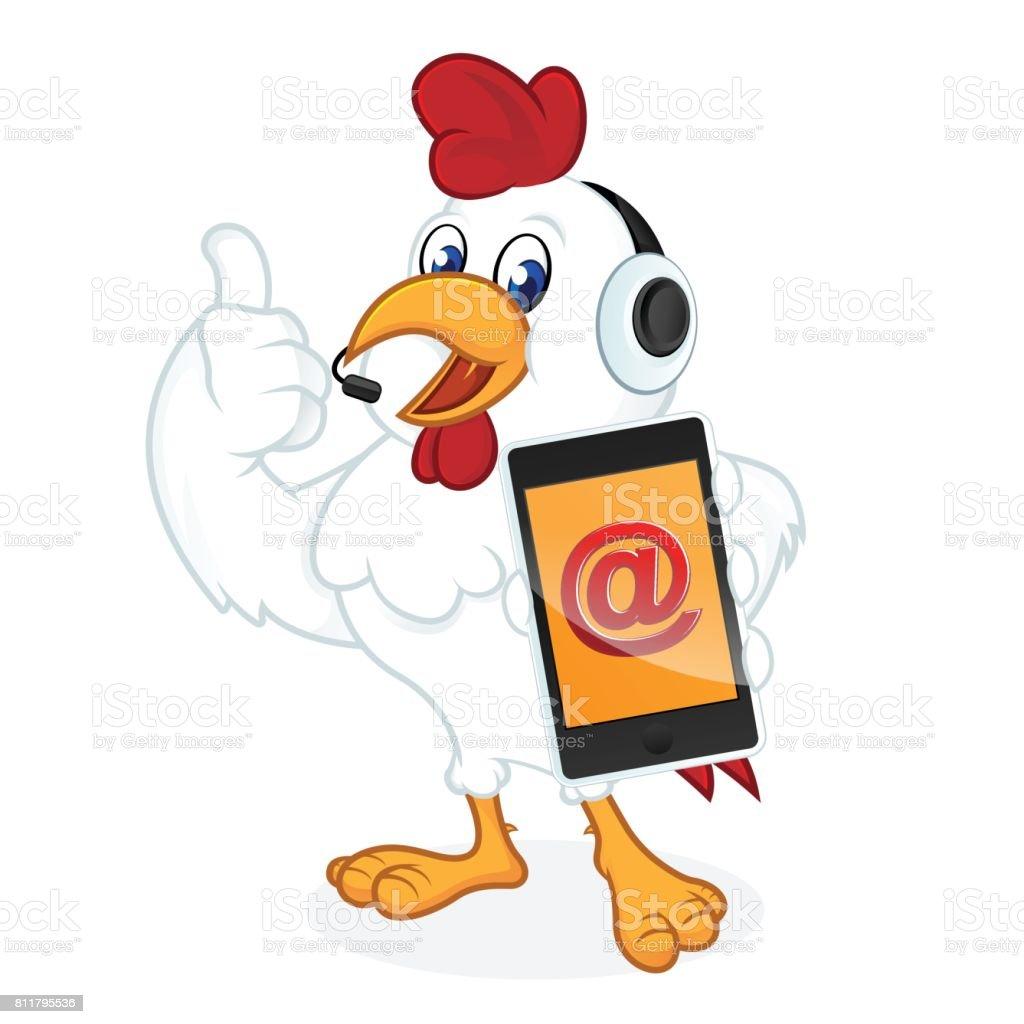 Huhn Cartoon Holding Telefon Stock Vektor Art und mehr Bilder von ...