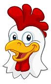 A chicken cartoon rooster cockerel character mascot