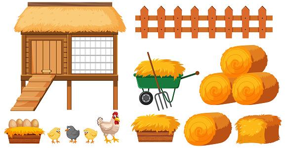 Chicken coop and hays on white background