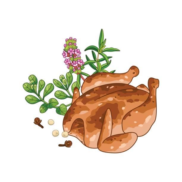 huhn-gericht-vektor-illustration mit gewürzen - roastbeef stock-grafiken, -clipart, -cartoons und -symbole
