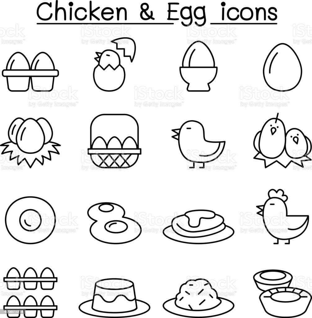 Chicken & Egg icon set in thin line style vector art illustration
