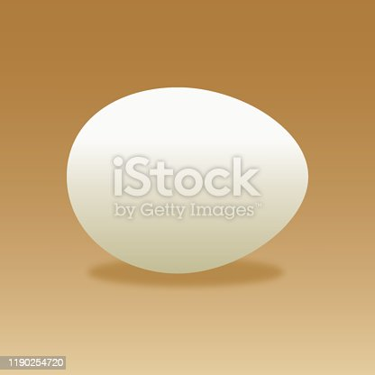 Vector illustration of a chicken egg with shadow on a gradient brown background.