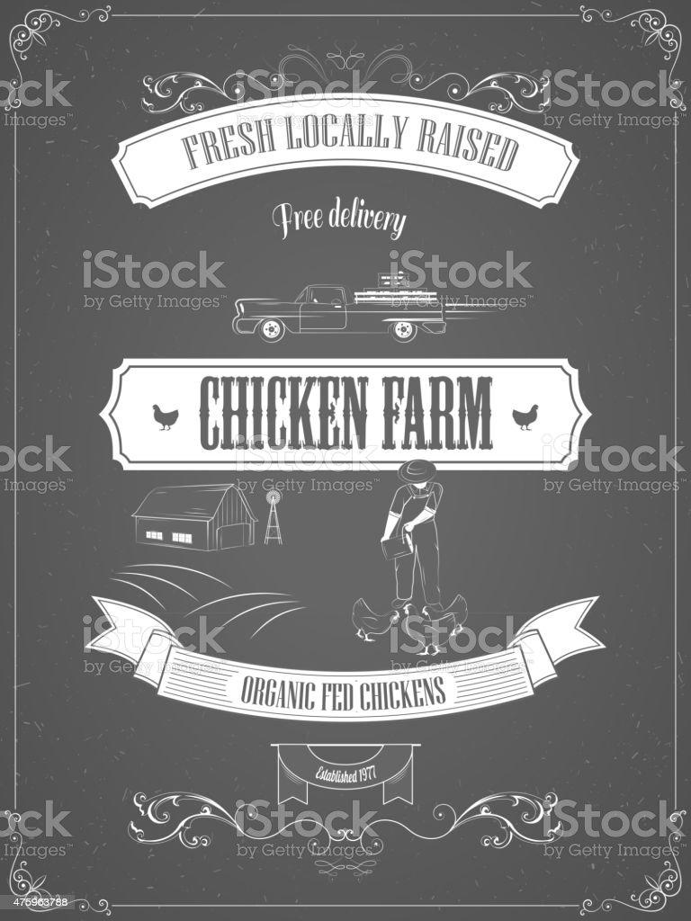 Chicken Farm Vintage Werbung Vektor-Poster. Lizenzfreies chicken farm vintage werbung vektorposter stock vektor art und mehr bilder von 2015