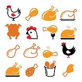 Chicken, fried chicken legs - food icons set