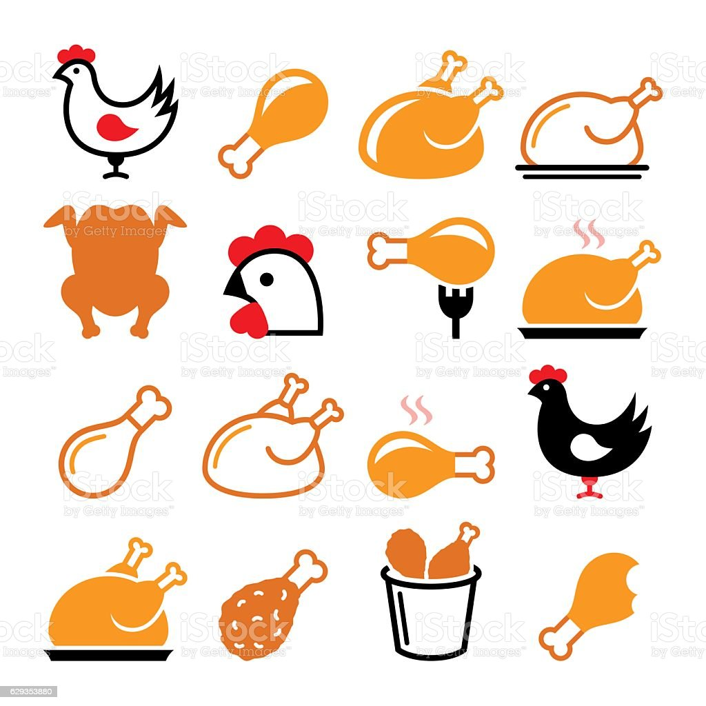 Chicken, fried chicken legs - food icons set vector art illustration