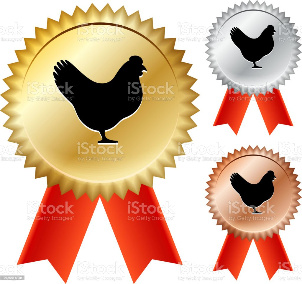 Chicken Gold Medal Prize Ribbons vector art illustration