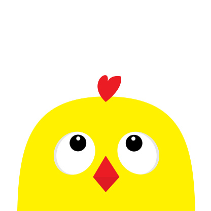Chicken head face big eyes red beak looking up. Happy Easter sign symbol. Cute cartoon character. Baby collection. Flat design. White background. Isolated.