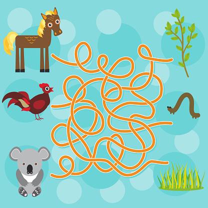 chicken, horse, koala labyrinth game for Preschool Children. Vector