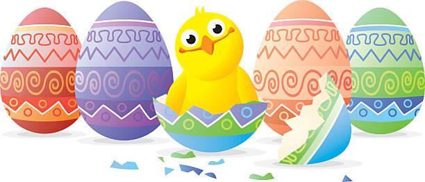 stockillustraties, clipart, cartoons en iconen met chicken in easter egg - fresh start yellow