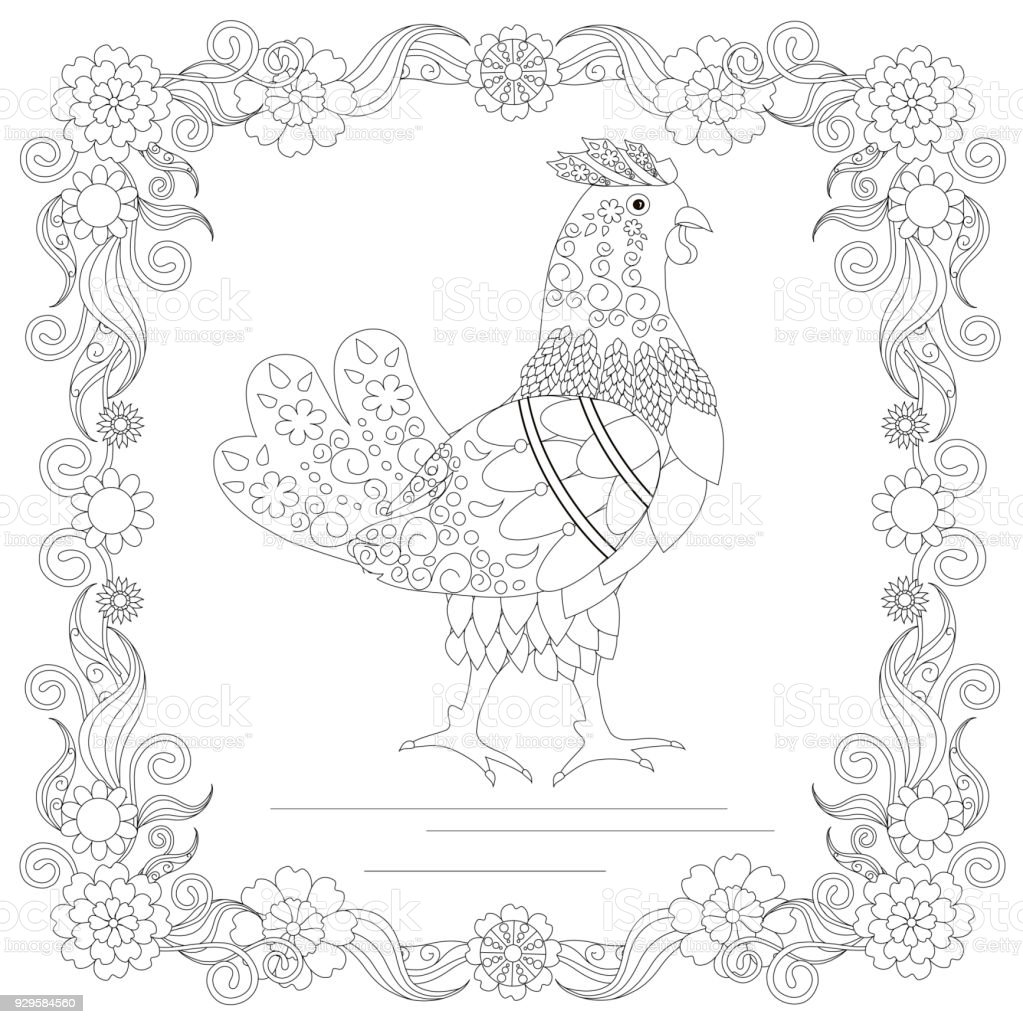 Huhn In Der Blume Rahmen Monochrome Skizze Färbung Seite Antistress ...