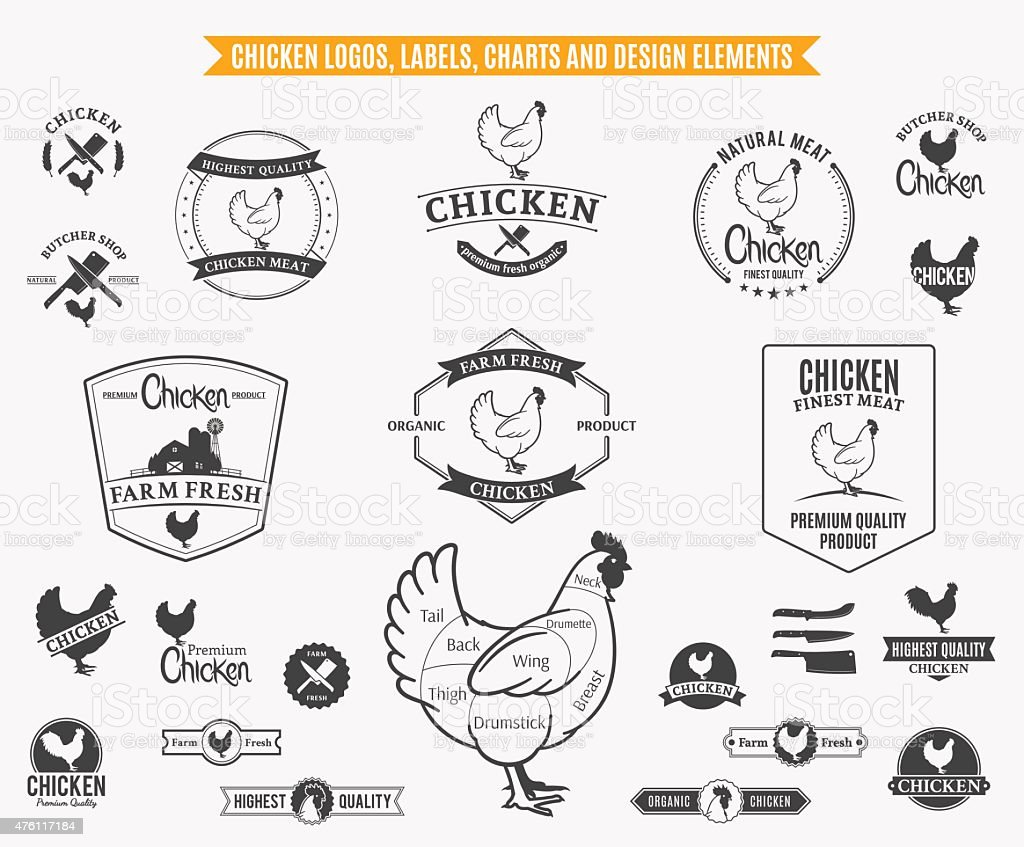 Chicken  Labels, Charts and Design Elements vector art illustration